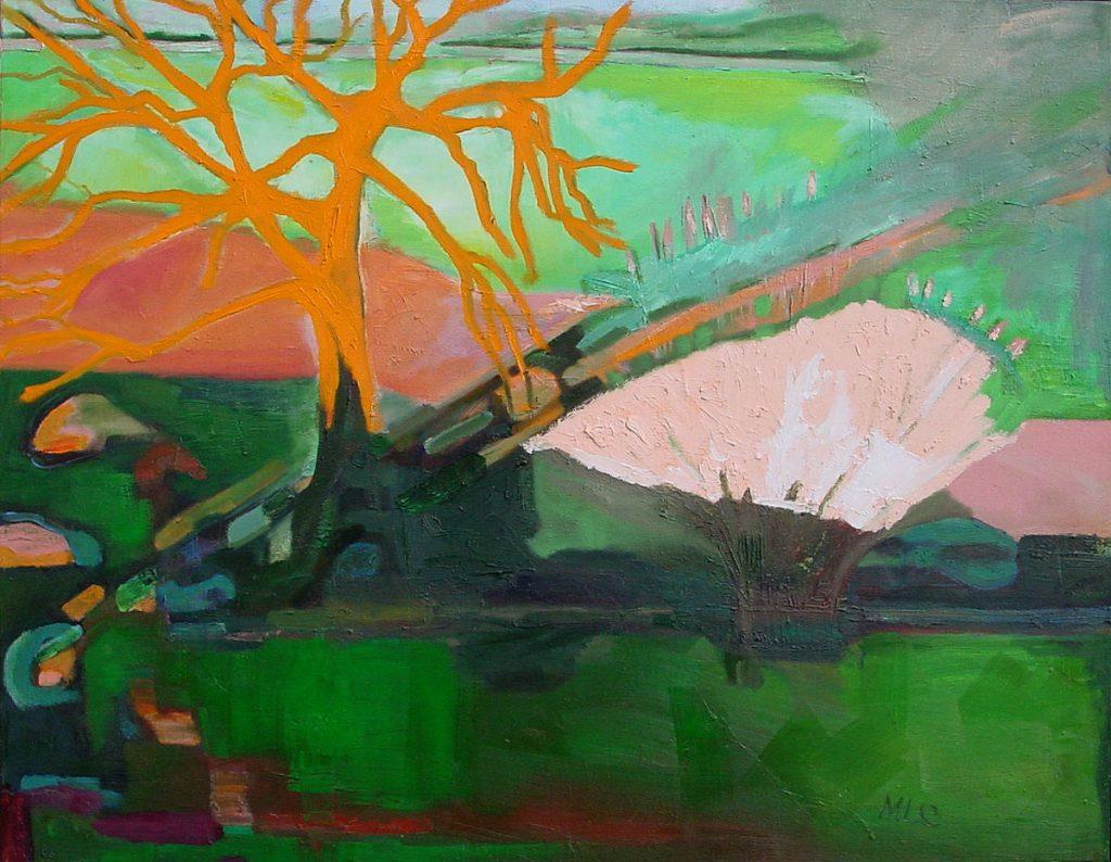 Schilderij van een Oranje Boom en een Roze Struik in een groen landschap.