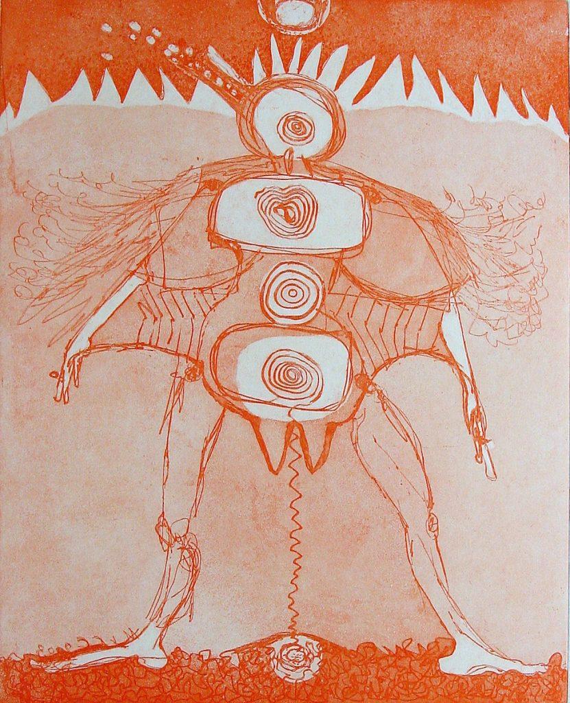 In blokken verdeelde figuur met vleugels. Hemel en aarde verbonden.