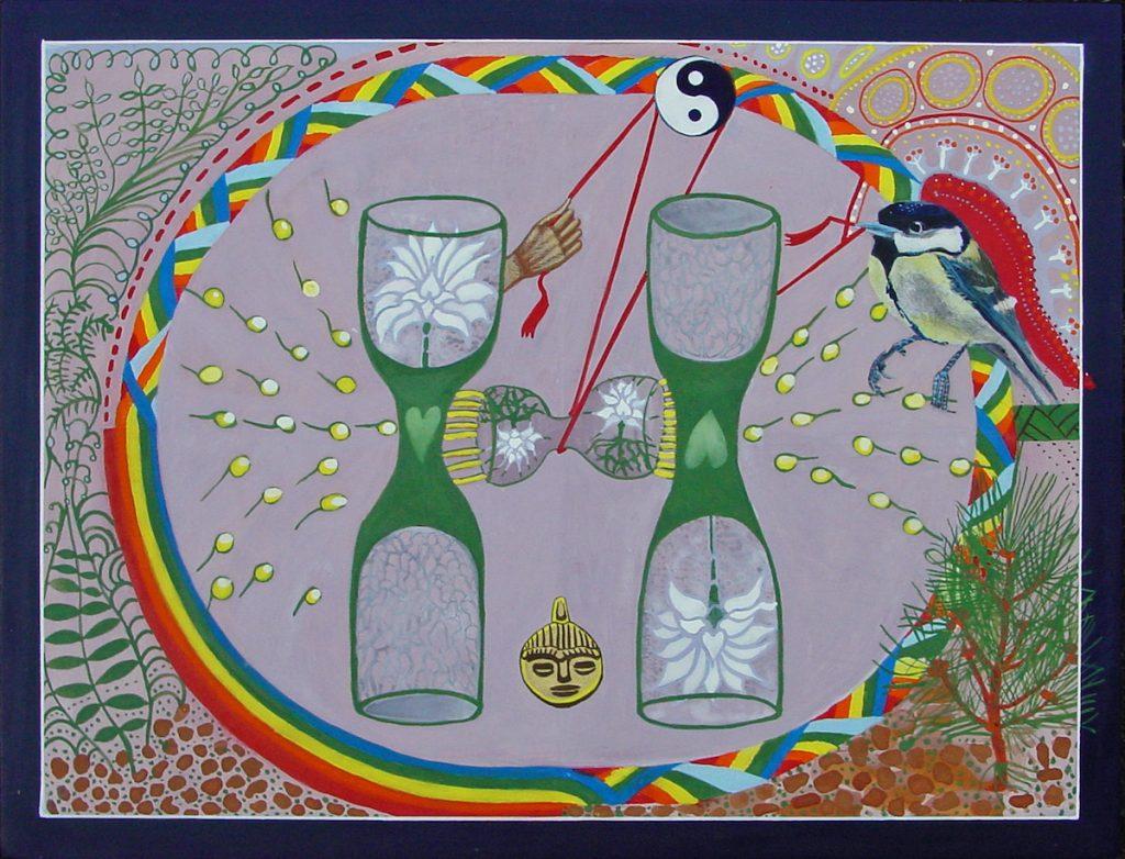 Schilderij met roze ondergrond. Twee zandlopers. in het midden een zandloper die energie krijgt door de hand en de Koolmees via kosmische teken van Dualiteit.