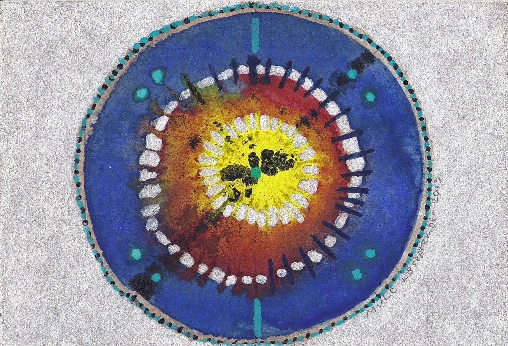 Krachtschilderij Cirkels. Geschilderd met ei-tempera op gesso. Flower Of Life, Levensbloem.