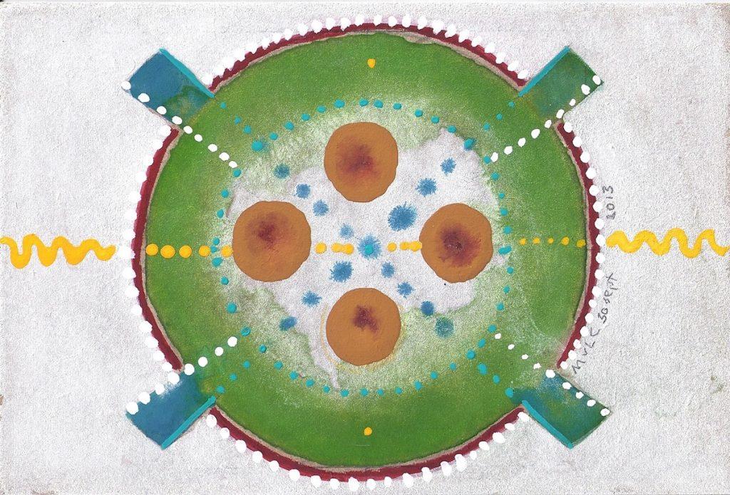 Krachtschilderij Cirkels. Geschilderd met ei-tempera en bladgoud op gesso. Flower Of Life.