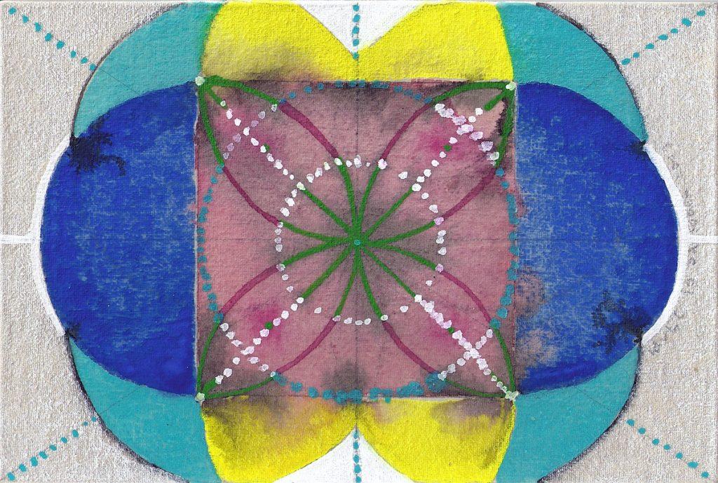 Krachtschilderij Cirkels Sandra. Geschilderd met ei-tempera op gesso. Flower Of Life, Levensbloem.