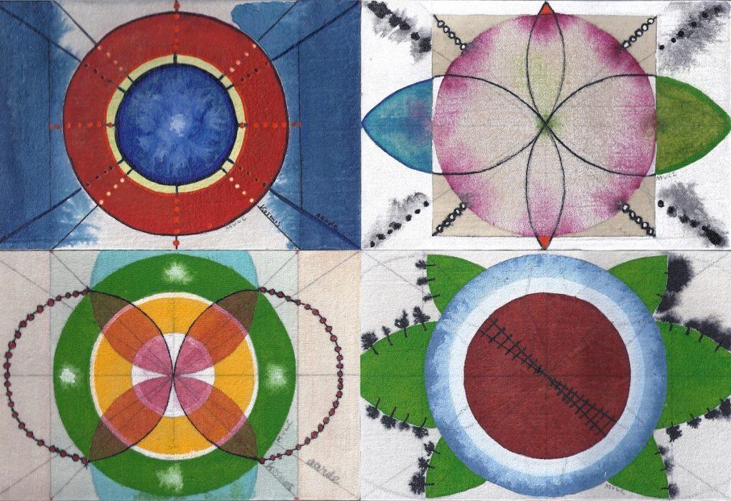 Krachtschilderij Joris, Rachel, Lena, Willem. Geschilderd met ei-tempera op gesso. Flower Of Life, Levensbloem.