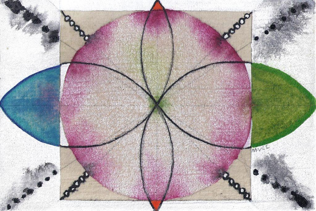 Krachtschilderij Rachel. Geschilderd met ei-tempera en bladgoud op gesso. Flower Of Life, Levensbloem.