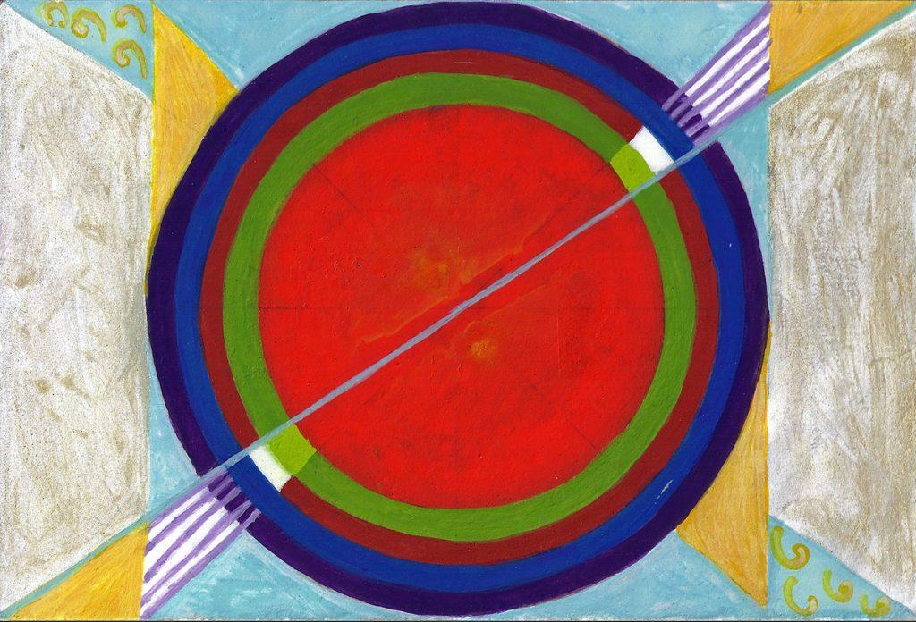 Krachtschilderij Carlo. Geschilderd met ei-tempera en bladgoud op gesso. Flower Of Life, Levensbloem.
