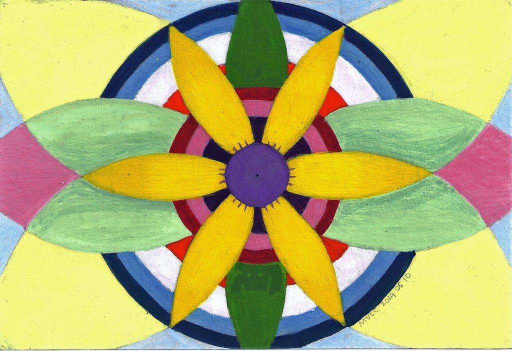 Krachtschilderij Gabriëlle. Geschilderd met ei-tempera en bladgoud op gesso. Flower Of Life, Levensbloem.
