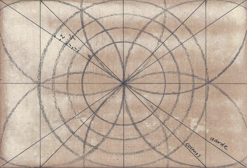 Grid voor Krachtschilderij. Geschilderd met ei-tempera en bladgoud op gesso. Flower Of Life, Levensbloem.