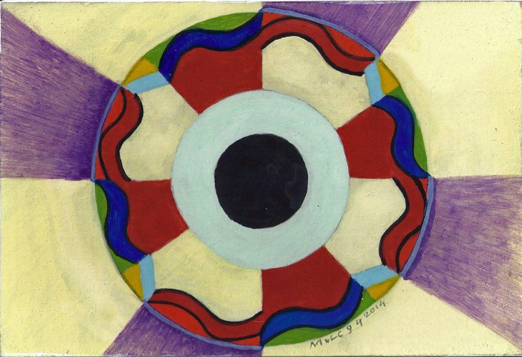 Krachtschilderij Jacintha. Geschilderd met ei-tempera en bladgoud op gesso. Flower Of Life, Levensbloem.