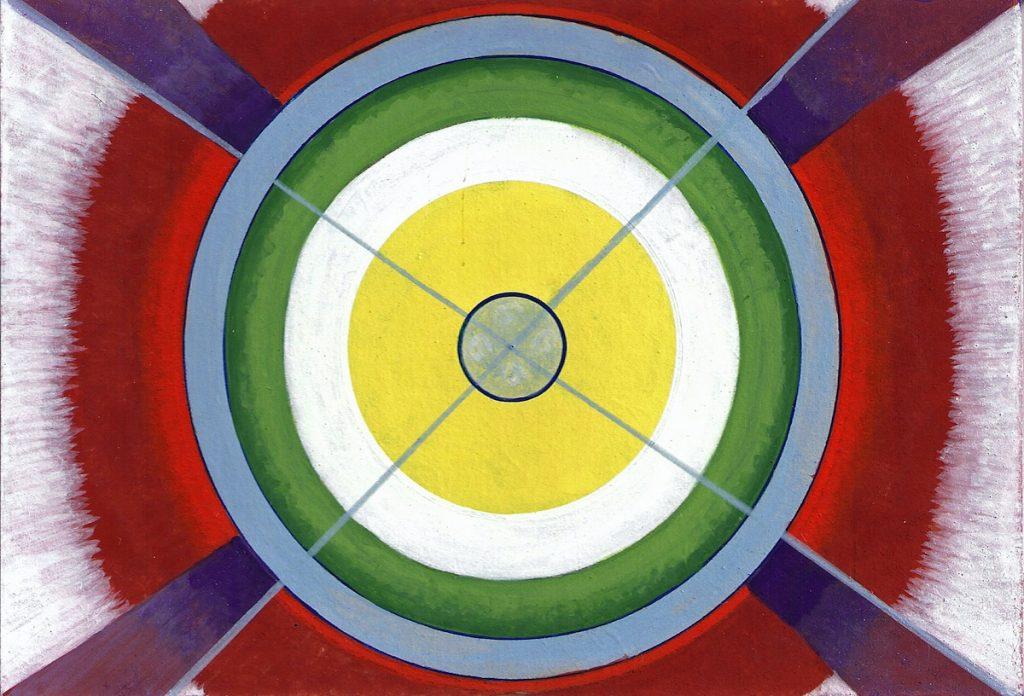 Krachtschilderij voor Ruud. Geschilderd met ei-tempera en bladgoud op gesso. Flower Of Life, Levensbloem.