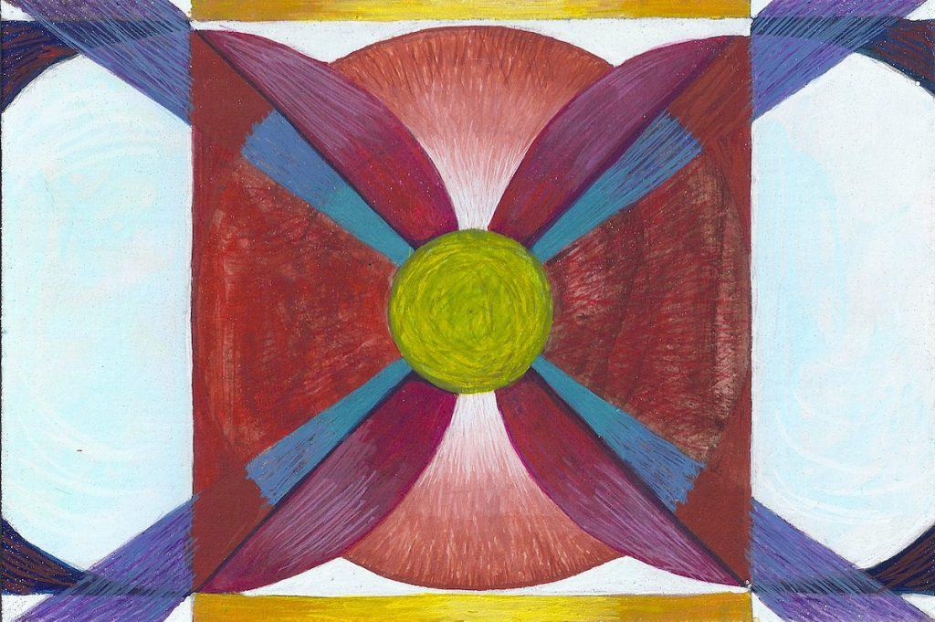Krachtschilderij Sandra. Geschilderd met ei-tempera en bladgoud op gesso. Flower Of Life, Levensbloem.