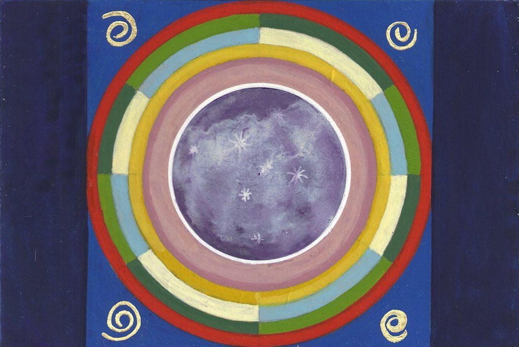 Krachtschilderij voor Sophie. Geschilderd met ei-tempera en bladgoud op gesso. Flower Of Life, Levensbloem.