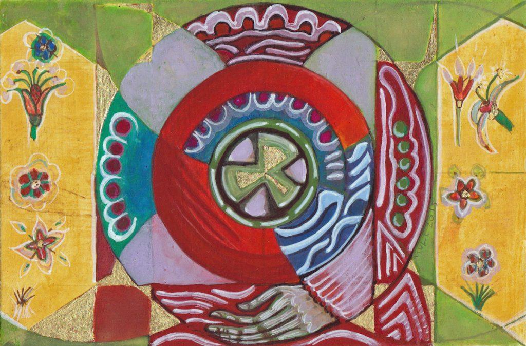Krachtschilderij voor Ans. Geschilderd met ei-tempera en bladgoud op gesso. Flower Of Life, Levensbloem.