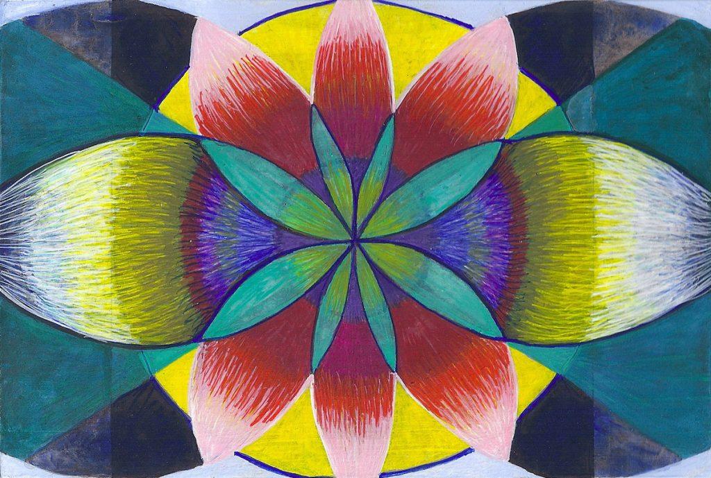 Krachtschilderij voor Birgit. Geschilderd met ei-tempera en bladgoud op gesso. Flower Of Life, Levensbloem.