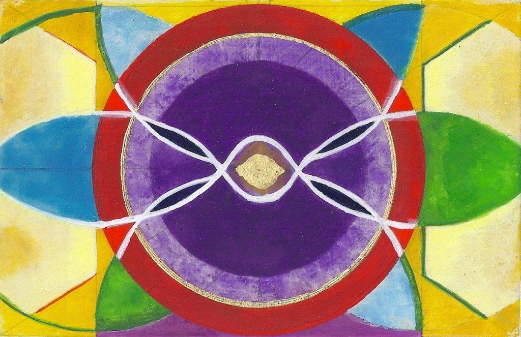 Krachtschilderij voor Eric. Geschilderd met ei-tempera en bladgoud op gesso. Flower Of Life, Levensbloem.