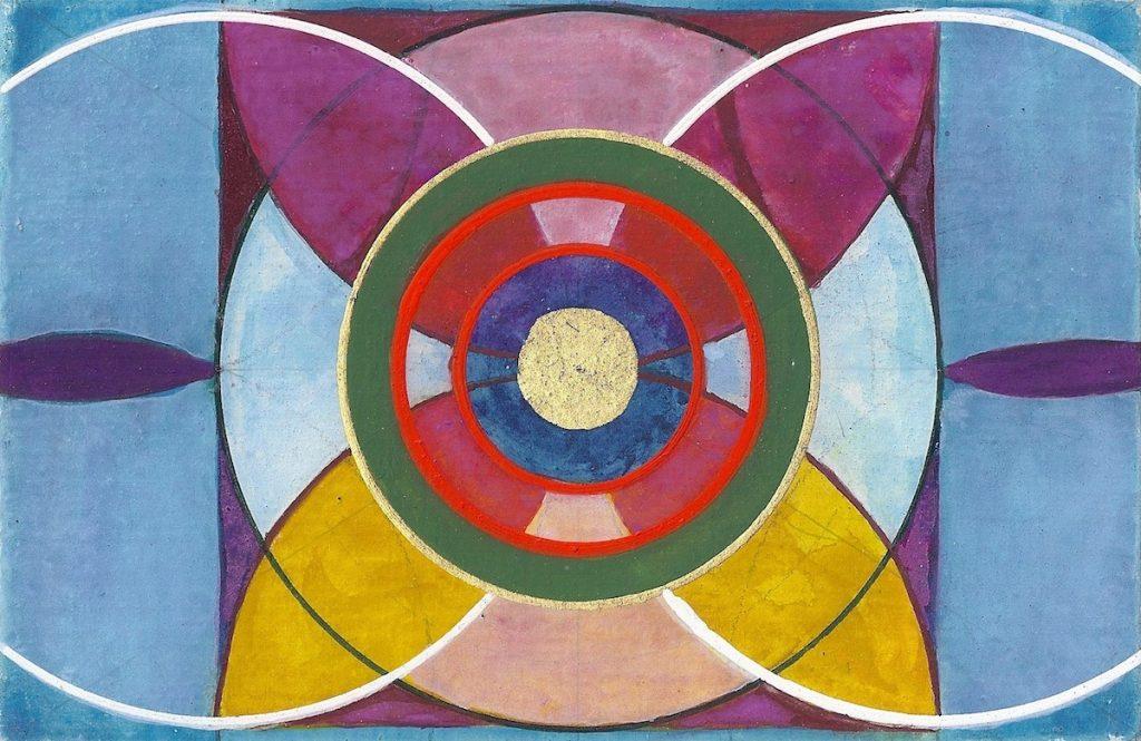 Krachtschilderij voor Eveline. Geschilderd met ei-tempera en bladgoud op gesso. Flower Of Life, Levensbloem.