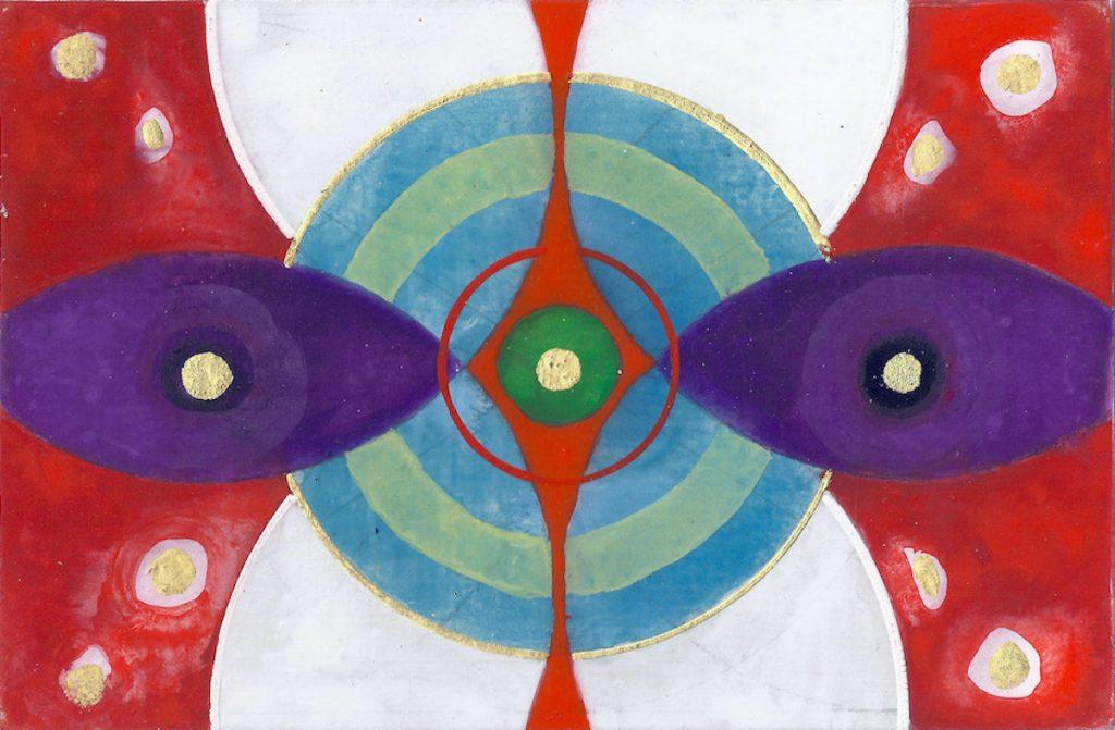 Krachtschilderij Jochem. Geschilderd met ei-tempera en bladgoud op gesso. Flower Of Life, Levensbloem.