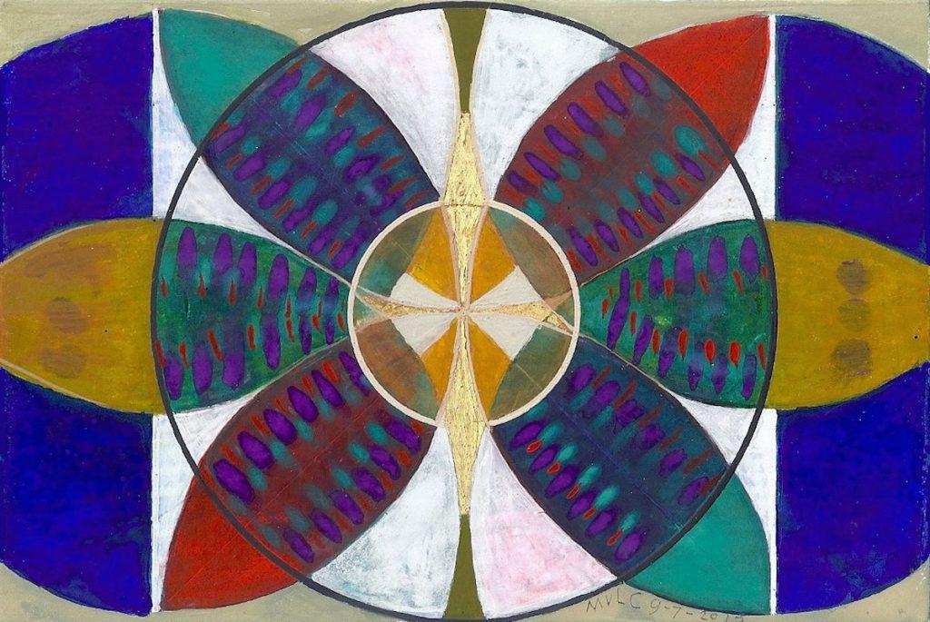 Krachtschilderij voor Jos. Geschilderd met ei-tempera en bladgoud op gesso. Flower Of Life, Levensbloem.