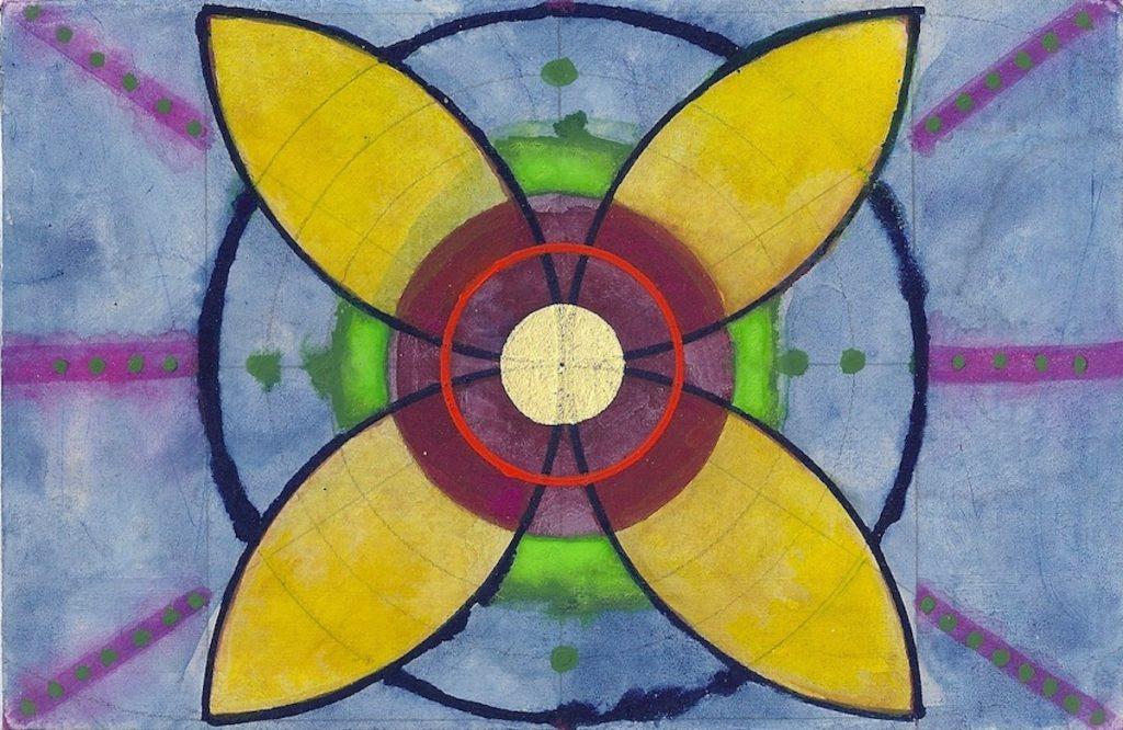 Krachtschilderij voor Maaike. Geschilderd met ei-tempera en bladgoud op gesso. Flower Of Life, Levensbloem.