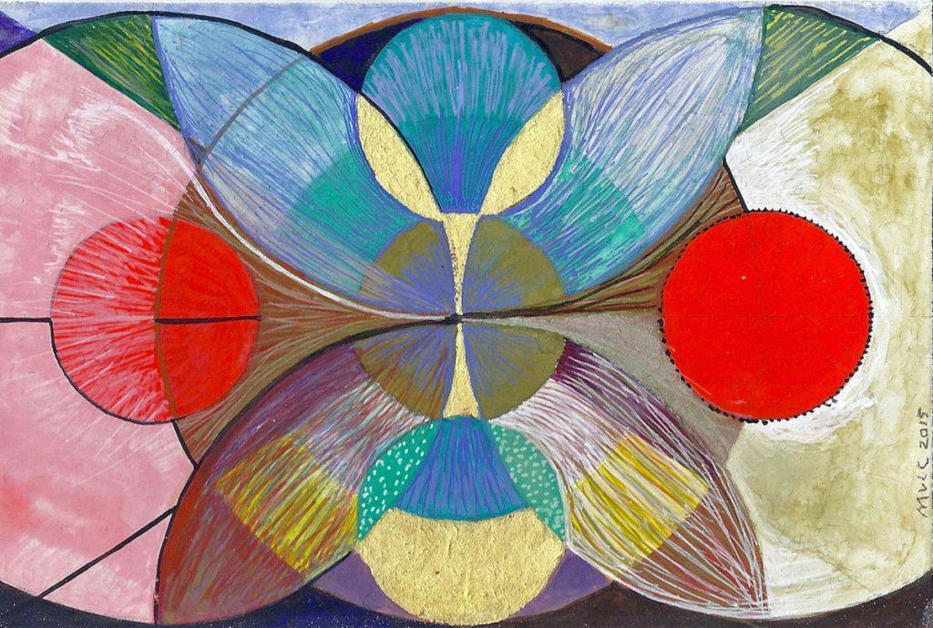 Krachtschilderij voor Mieke. Geschilderd met ei-tempera en bladgoud op gesso. Flower Of Life, Levensbloem.