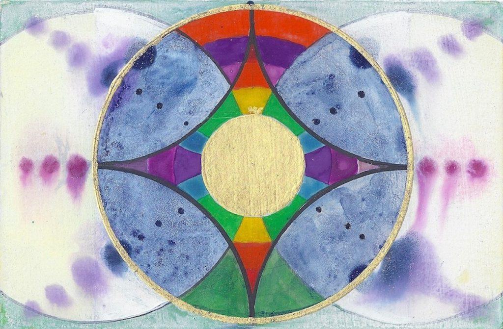 Krachtschilderij voor Nynke. Geschilderd met ei-tempera en bladgoud op gesso. Flower Of Life, Levensbloem.