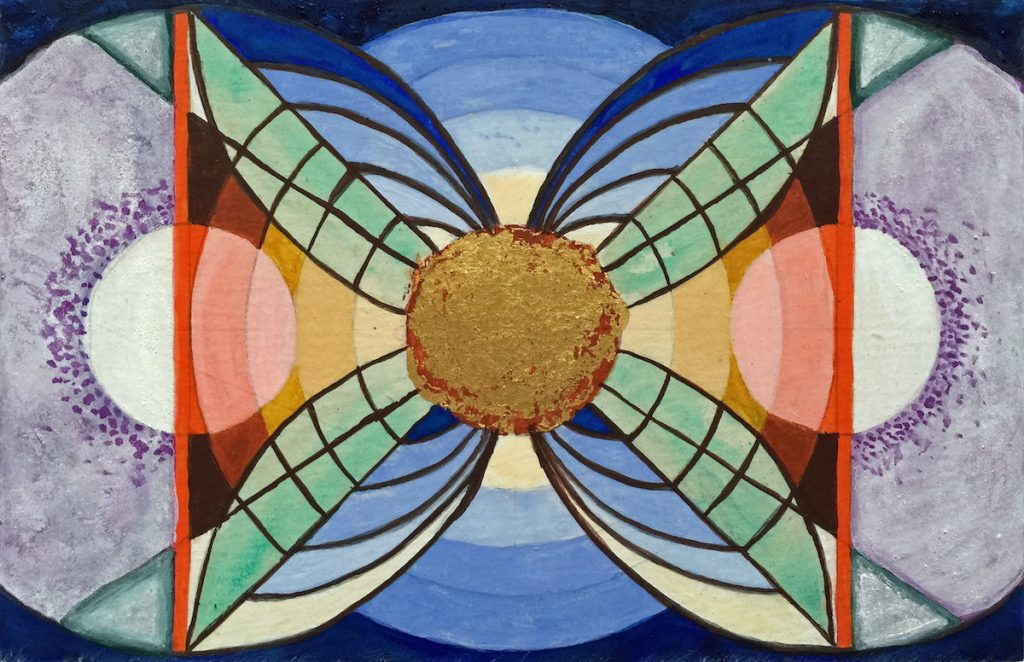 Krachtschilderij voor Rochier. Geschilderd met ei-tempera en bladgoud op gesso. Flower Of Life, Levensbloem.
