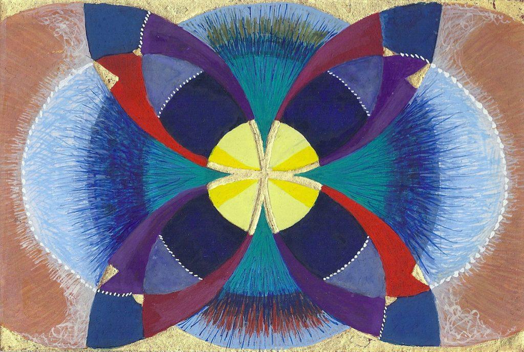 Krachtschilderij voor Wilma. Geschilderd met ei-tempera en bladgoud op gesso. Flower Of Life, Levensbloem.