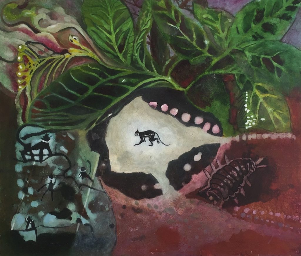 Schilderij met Langour-apen. In het midden een gestileerde aap in een witte ruimte. Omgeving van bladeren en apen in de bomen. Rechts een pissebed in rode aarde.
