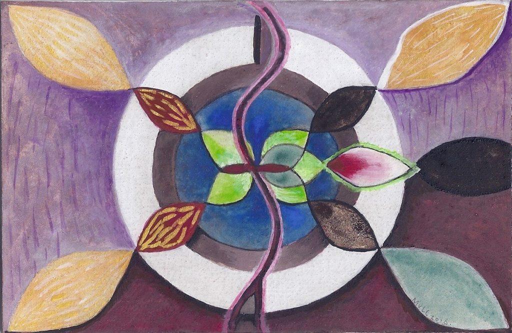 Krachtschilderij voor Els. Geschilderd met ei-tempera en bladgoud op gesso. Flower Of Life, Levensbloem.