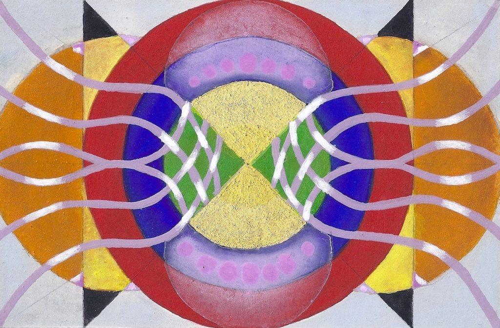 Krachtschilderij voor Mariken. Geschilderd met ei-tempera en bladgoud op gesso. Flower Of Life, Levensbloem.
