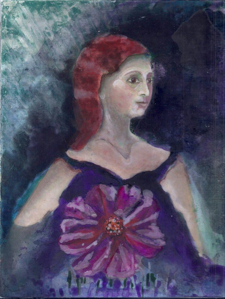 Schilderij van een dromerig meisje met oranje haar. In een paarse jurk met grote bloem.