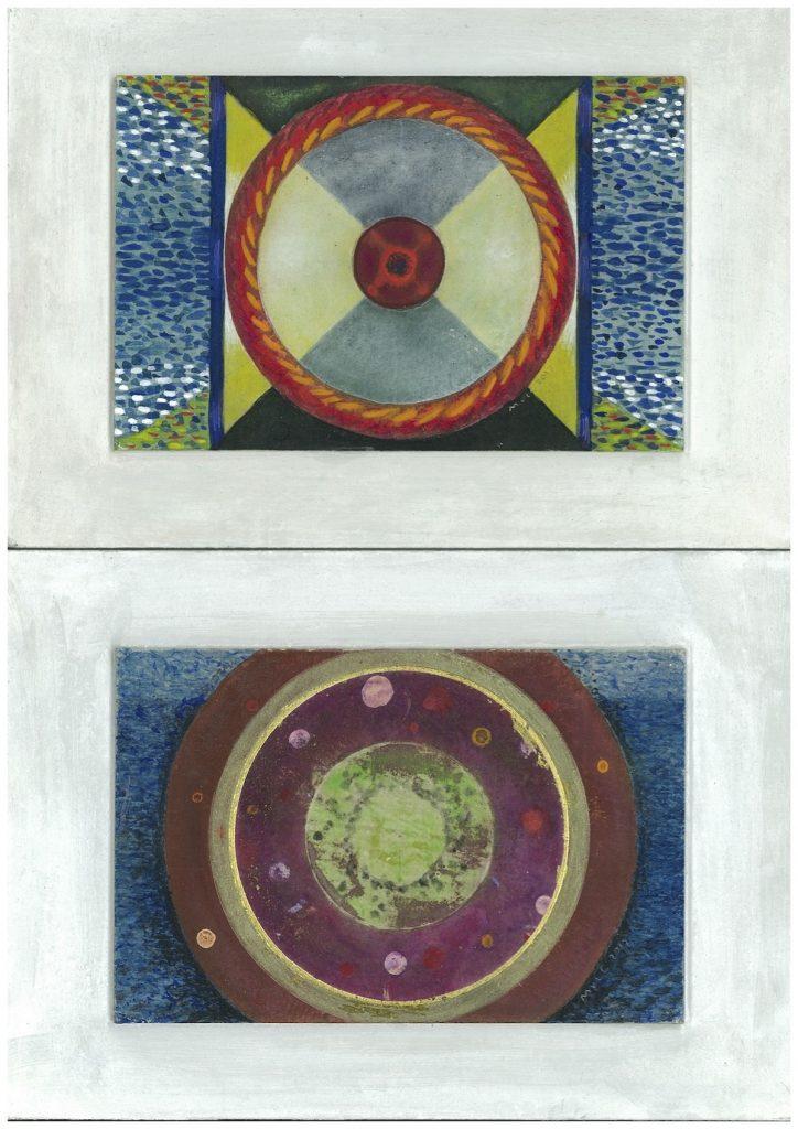 Krachtschilderijen voor Gerard en Coby. Geschilderd met ei-tempera en bladgoud op gesso. Flower Of Life, Levensbloem.