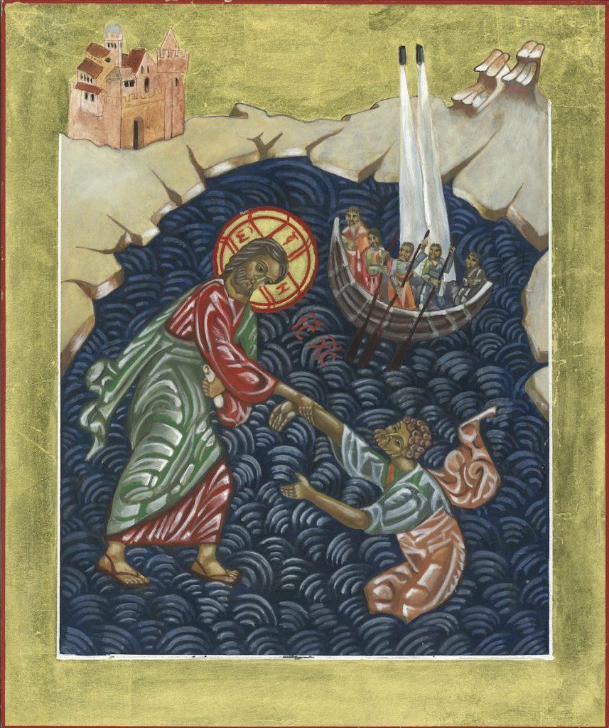 Jezus stelt ze gerust en zegt: 'Rustig maar! Ik ben het, wees niet bang.' Maar Petrus antwoordt: 'Heer, als jij het bent, zeg me dan dat ik over het water naar je toe moet komen.' Jezus zegt: 'Kom!' Petrus stapt uit de boot en loopt inderdaad over het water naar Jezus toe! Maar als hij naar de storm kijkt, wordt hij bang en begint te zinken. Hij roept: 'Heer, red me!' Jezus steekt zijn hand uit, grijpt Petrus vast en zegt: 'Waarom ben je gaan twijfelen? Wat is je geloof toch klein!' — Mattheüs 14:27-31.
