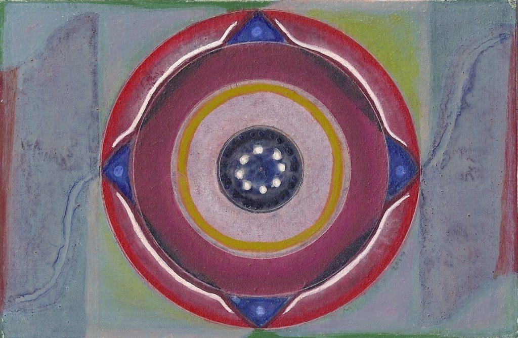 Krachtschilderij voor Pieter. Geschilderd met ei-tempera en bladgoud op gesso. Flower Of Life, Levensbloem.