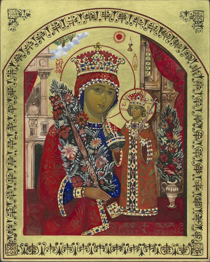 De Moeder Gods is in driekwart lichaamslengte afgebeeld. Op haar hoofd draagd ze een prachtig versierde kroon. Als Koningin der Hemelen is haar kleding is eveneens rijk versierd. In haar rechter hand houdt Maria een scepter vast, waaruit bloemen groeien. De kleine Koning der Hemelen, Jezus, eveneens gekroond en met een rijk versierd kleed, staat op een verhoging. Hij draagt een wereldbol met een kruis erop in de rechter hand. In zijn linkerhand heeft hij een scepter. Moeder en Kind zijn omgeven door bloemen. Boven Maria is de zon te zien. Onder de zon zijn nog enkele attributen te zien die verwijzen naar de hymne: een kaars (welriekende kaars), koningsdeurtjes (geopende hemelpoort), een wierookvat (Verheug U, welriekend wierookvat), allemaal symbolen voor de reinheid van Maria.
