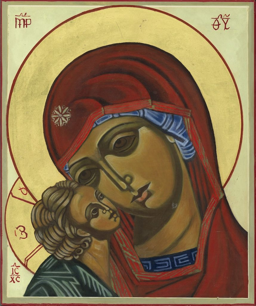 Moeder Gods van Korsun (Korsoen) is een variant op de moeder Gods van de tederheid waarbij de wangen van moeder en kind tegen elkaar aan gevlijd zijn. De hechte band tussen moeder en kind is hier duidelijk weergegeven.