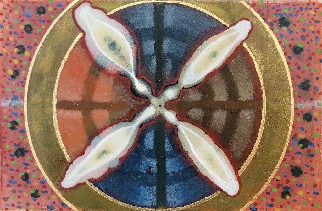 Krachtschilderij Caroline. Geschilderd met ei-tempera en bladgoud op gesso. Flower Of Life, Levensbloem.