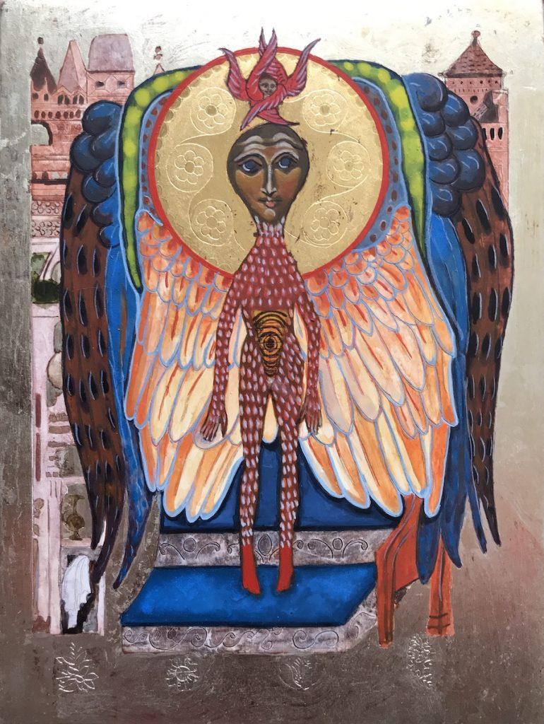 Gezicht met Engelen Lichaam, Aureool, Groen Raam, Veren Vleugels, Stad, Achtergrond, in Witgoud.