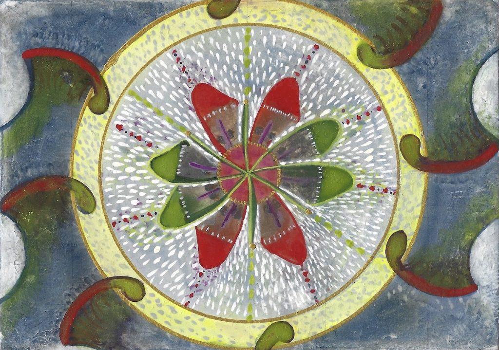 Krachtschilderij Nellie. Geschilderd met ei-tempera en bladgoud op gesso. Flower Of Life.