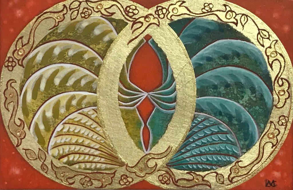 Krachtschilderij voor José en Ad. Geschilderd met ei-tempera en bladgoud op gesso. Flower Of Life, Levensbloem.