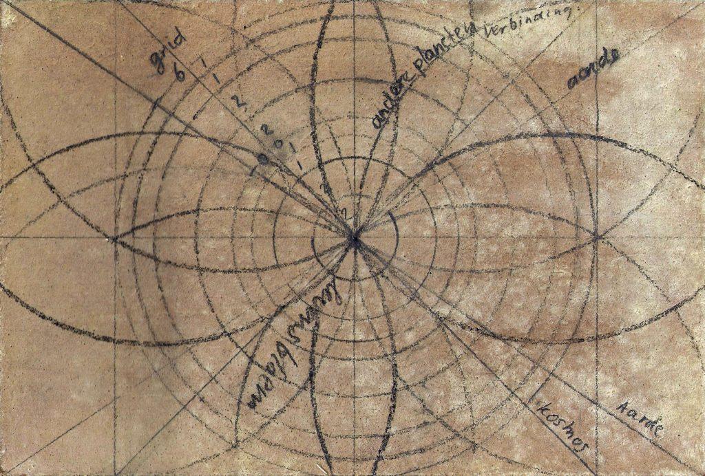 Geometrische tekening voor Krachtschilderij. Tekening met potlood op gesso. Flower Of Life, Levensbloem.
