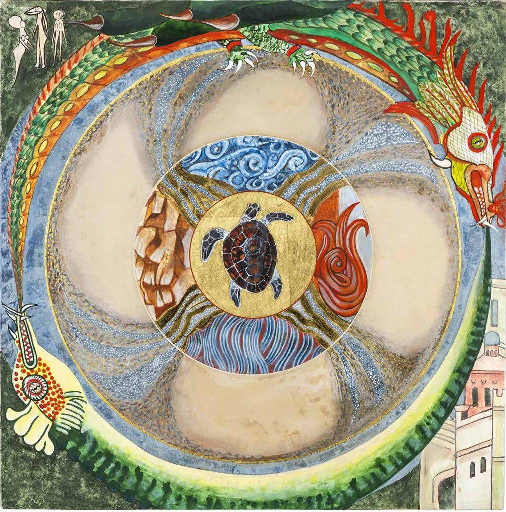 Slang en draak Auroboros. Daarbuiten is de wereld met mensen en gebouwen in donkergroen. Dit staat voor Dualiteit en Ego. Binnen de cirkel is de Wadi met Aarde, Water, Lucht en Vuur en de schildpad die zwemt in oneindig Goud.